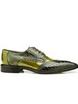 Antique Olive Genuine Ostrich Leg & Eel Nino Shoe | Belvedere Shoes Spring Collection | Sams Tailoring Fine Men Clothing