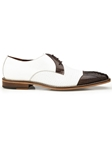 Brown & White Genuine Ostrich & Italian Calf Monaco Shoe | Belvedere Shoes Spring Collection | Sams Tailoring Fine Men Clothing