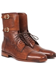 Brown Calfskin With Buckles Men's High Boot | Fine Men Spring Boots | Sam's Tailoring Fine Men Clothing