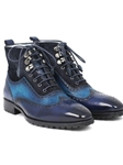 Blue Suede & Leather Wingtop Men's Boot | Fine Men Spring Boots | Sam's Tailoring Fine Men Clothing