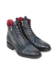 Navy Genuine Crocodile & Calfskin Side Zipper Boot | Fine Men Spring Boots | Sam's Tailoring Fine Men Clothing