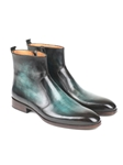Turquoise Burnished Side Zipper Men's Boot | Fine Men Spring Boots | Sam's Tailoring Fine Men Clothing