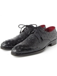 Black Genuine Ostrich Derby Men's Shoe| Fine Men Derby Shoes | Sam's Tailoring Fine Men Clothing