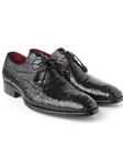 Black Genuine Crocodile Derby Men's Shoe| Fine Men Derby Shoes | Sam's Tailoring Fine Men Clothing