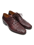 Brown & Bordeaux Crocodile Embossed Calfskin Derby Shoe| Fine Men Derby Shoes | Sam's Tailoring Fine Men Clothing