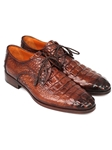 Brown Crocodile Embossed Calfskin Derby Shoe| Fine Men Derby Shoes | Sam's Tailoring Fine Men Clothing