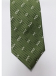 Green and White Printed Design Silk Tie | Jane Barnes Silk Ties | Sam's Tailoring Fine Men's Clothing