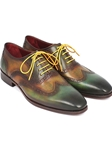 Green Handpainted Calfskin Wingtip Oxford | Men's Oxford Shoes Collection | Sam's Tailoring Fine Men Clothing