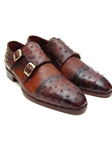 Tobacco & Brown Genuine Ostrich Monkstraps Shoe | Handmade Monk Straps Shoes | Sam's Tailoring Fine Men Clothing