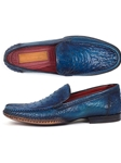 Blue Genuine Ostrich Opanka Stitched Moccasins | handmade Men Loafers | Sam's Tailoring Fine Men's Clothing