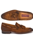 Brown Antiqued Suede Men's Tassel Loafer | handmade Men Loafers | Sam's Tailoring Fine Men's Clothing