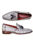 Grey Genuine Crocodile Men's Tassel Loafer | handmade Men Loafers | Sam's Tailoring Fine Men's Clothing