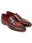 Brown & Bordeaux Calfskin Penny Loafer | handmade Men Loafers | Sam's Tailoring Fine Men's Clothing