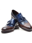 Navy & Dark Brown Kiltie Tassel Loafer | handmade Men Loafers | Sam's Tailoring Fine Men's Clothing