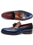 Navy & Tobacco Kiltie Tassel Loafer | handmade Men Loafers | Sam's Tailoring Fine Men's Clothing