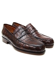 Brown Genuine Crocodile Penny Loafer | handmade Men Loafers | Sam's Tailoring Fine Men's Clothing