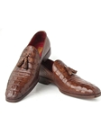 Brown Crocodile Embossed Calfskin Tassel Loafer | handmade Men Loafers | Sam's Tailoring Fine Men's Clothing