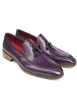 Purple Hand Painted Leather Tassel Loafer | handmade Men Loafers | Sam's Tailoring Fine Men's Clothing