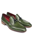 Green Hand Painted Leather Tassel Loafer | handmade Men Loafers | Sam's Tailoring Fine Men's Clothing