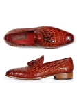 Reddish Crocodile Embossed Tassel Loafer | handmade Men Loafers | Sam's Tailoring Fine Men's Clothing