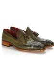 Green Crocodile Embossed Calfskin Tassel Loafer | handmade Men Loafers | Sam's Tailoring Fine Men's Clothing