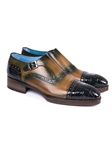 Green Genuine Crocodile & Calfskin Monkstraps Shoe | Hand Made Exotic Skins Shoes | Sam's Tailoring Fine Men Clothing