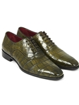 Green Genuine Crocodile Men's Oxford | Hand Made Exotic Skins Shoes | Sam's Tailoring Fine Men Clothing