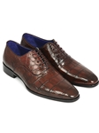 Brown Genuine Crocodile Men's Oxford | Hand Made Exotic Skins Shoes | Sam's Tailoring Fine Men Clothing
