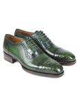 Green Genuine Crocodile & Calfskin Cap-Toe Oxford | Hand Made Exotic Skins Shoes | Sam's Tailoring Fine Men Clothing
