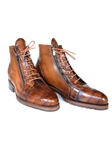 Brown Genuine Crocodile & Calfskin Side Zipper Boots | Hand Made Exotic Skins Shoes | Sam's Tailoring Fine Men Clothing