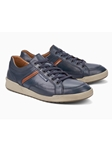 Dark Blue Unlined Lining Smooth Leather Sneaker | Mephisto Oxfords Shoes Collection | Sam's Tailoring Fine Men Clothing