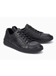 Black Smooth Leather Soft Air Midsole Men's Sneaker | Mephisto Men's Sneakers | Sams Tailoring Fine Men Clothing