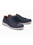 Navy Smooth Leather Men's Causal Sneaker | Mephisto Men's Sneakers | Sams Tailoring Fine Men Clothing
