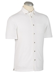 White Pima Blend Knit Short Sleeve Sport Shirt | Bobby Jones Shirts Collection | Sams Tailoring Fine Men's Clothing