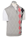 Heather Grey Cotton-Cashmere Placed Argyle Quarter Zip Sweater Vest | Bobby Jones Sweaters Collection | Sams Tailoring Fine Men's Clothing