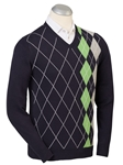 Navy Cotton-Cashmere Placed Argyle V-Neck Sweater | Bobby Jones Sweaters Collection | Sams Tailoring Fine Men's Clothing