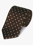 Brown Woven White Polka Dot Silk Tie | Fine Ties Collection | Sam's Tailoring Fine Men Clothing