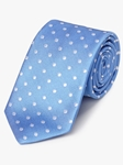 Blue Woven White Polka Dot Silk Tie | Fine Ties Collection | Sam's Tailoring Fine Men Clothing