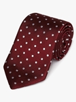 Burgundy Woven White Polka Dot Silk Tie | Fine Ties Collection | Sam's Tailoring Fine Men Clothing