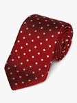 Red Woven White Polka Dot Silk Tie | Fine Ties Collection | Sam's Tailoring Fine Men Clothing