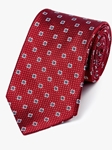 Red Medallion Neat Pattern Woven Tie | Fine Ties Collection | Sam's Tailoring Fine Men Clothing