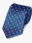 Blue Medallion Neat Pattern Woven Tie | Fine Ties Collection | Sam's Tailoring Fine Men Clothing