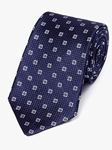 Navy Medallion Neat Pattern Woven Tie | Fine Ties Collection | Sam's Tailoring Fine Men Clothing