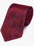 Red On Navy Paisley Pattern Woven Tie | Fine Ties Collection | Sam's Tailoring Fine Men Clothing