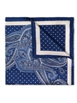 Navy Silk Satin Fine Paisley Pocket Square | Pocket Squares Collection | Sam's Tailoring Fine Men Clothing