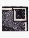 Black Silk Satin Fine Paisley Pocket Square  | Pocket Squares Collection | Sam's Tailoring Fine Men Clothing