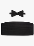 Black Satin Silk Bow Tie & Cummerbund Set | Bow Tie & Cummerbund Collection | Fine Men's Clothing