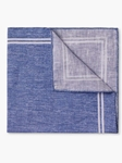 Blue Border Check Design Linen Pocket Square | Pocket Squares Collection | Sam's Tailoring Fine Men Clothing