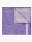 Lavender Border Check Design Linen Pocket Square | Pocket Squares Collection | Sam's Tailoring Fine Men Clothing
