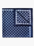 Navy Medallion Pattern Silk Twill Pocket Square | Pocket Squares Collection | Sam's Tailoring Fine Men Clothing